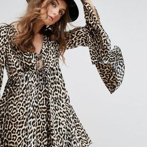 ASOS leopard bell sleeve dress Medium